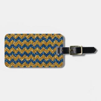 Faux Gold Glitter Chevron Pattern Navy Blue Glitte Travel Bag Tags