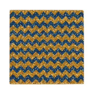 Faux Gold Glitter Chevron Pattern Navy Blue Glitte Maple Wood Coaster
