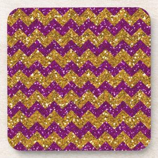 Faux Gold Glitter Chevron Pattern Purple Glitter Coasters