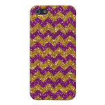 Faux Gold Glitter Chevron Pattern Purple Glitter iPhone 5/5S Covers