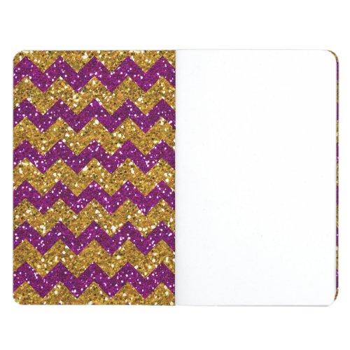 Faux Gold Glitter Chevron Pattern Purple Glitter Journals