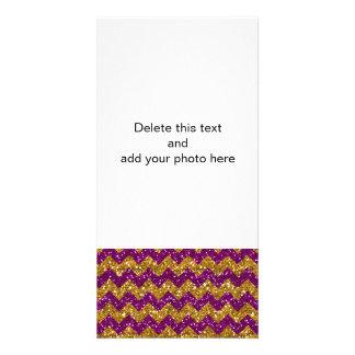 Faux Gold Glitter Chevron Pattern Purple Glitter Custom Photo Card