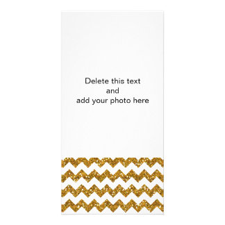 Faux Gold Glitter Chevron Pattern White Solid Card