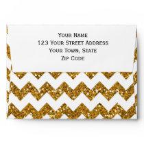 Faux Gold Glitter Chevron Pattern White Solid Envelope