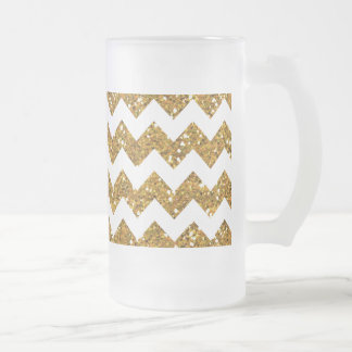 Faux Gold Glitter Chevron Pattern White Solid Frosted Glass Beer Mug