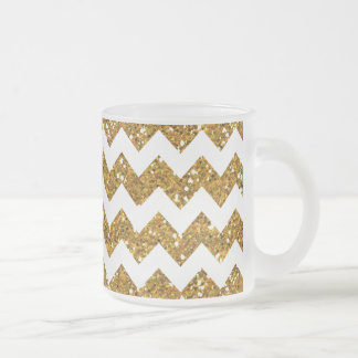 Faux Gold Glitter Chevron Pattern White Solid Frosted Glass Coffee Mug