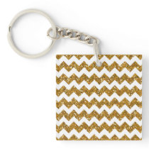 Faux Gold Glitter Chevron Pattern White Solid Keychain