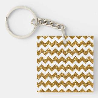 Faux Gold Glitter Chevron Pattern White Solid Keychain