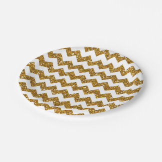 Faux Gold Glitter Chevron Pattern White Solid 7 Inch Paper Plate