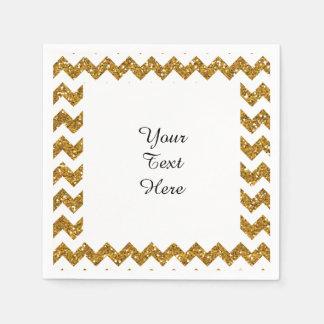 Faux Gold Glitter Chevron Pattern White SolidElega Paper Napkin