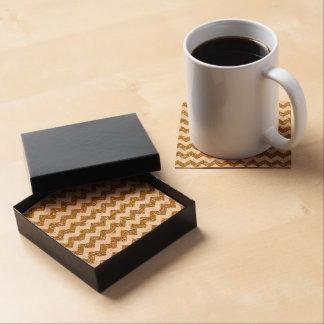 Faux Gold Glitter Chevron Pattern White SolidElega Drink Coasters