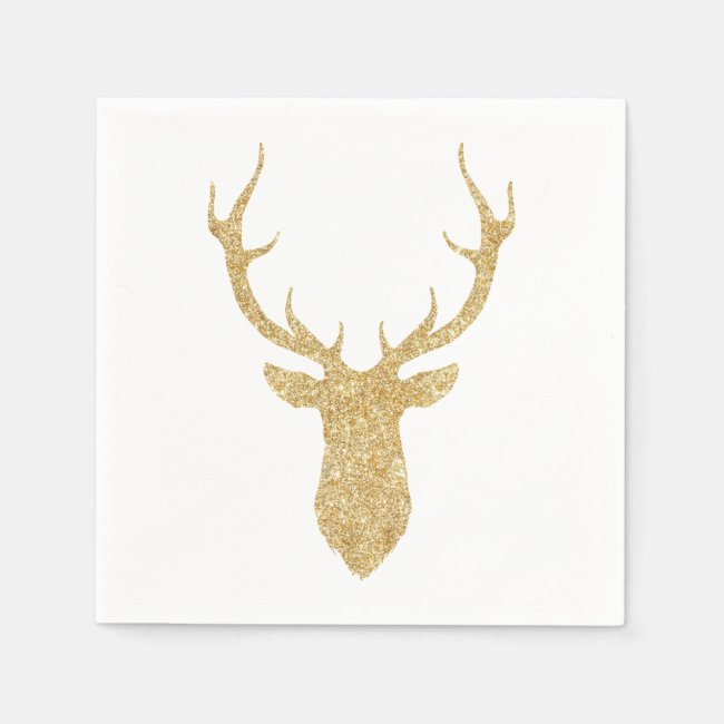 Faux Gold Glitter Christmas Deer