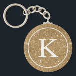 "Faux Gold Glitter Circle | Monogram Initial Keychain<br><div class=""desc"">Circle key chain featuring a faux gold glitter circle and white monogram initial.</div>"
