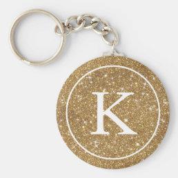 Faux Gold Glitter Circle   Monogram Initial Keychain