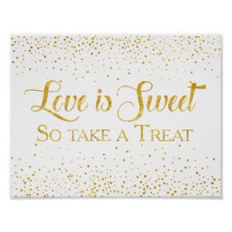 Faux Gold Glitter Confetti Wedding Dessert Sign