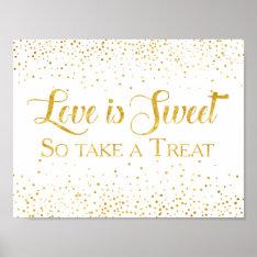 Faux Gold Glitter Confetti Wedding Dessert Sign Poster at Zazzle