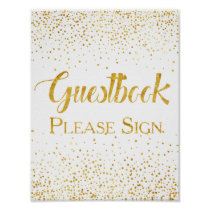 Faux Gold Glitter Confetti Wedding Guestbook Sign