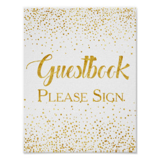 Faux Gold Glitter Confetti Wedding Guestbook Sign Poster