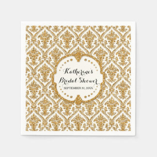 Faux Gold Glitter Damask Bridal Shower Party Decor Paper Napkin