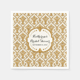 Faux Gold Glitter Damask Bridal Shower Party Decor Paper Napkin