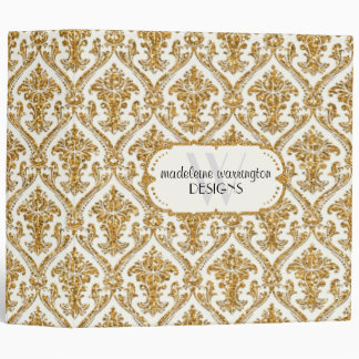 Faux Gold Glitter Damask Floral Pattern Business 3 Ring Binder