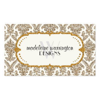 Faux Gold Glitter Damask Floral Pattern Business Double-Sided Standard Business Cards (Pack Of 100)
