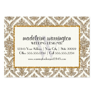 Faux Gold Glitter Damask Floral Pattern Business Large Business Cards (Pack Of 100)