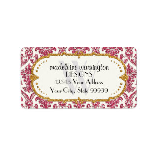 Faux Gold Glitter Damask Floral Pattern Business Address Label