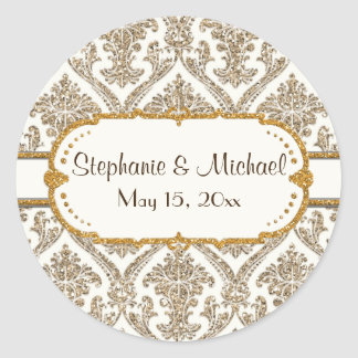 Faux Gold Glitter Damask Floral Pattern Stationery Classic Round Sticker