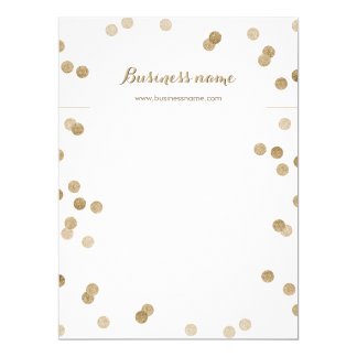 Faux Gold Glitter Dots Background Necklace Cards