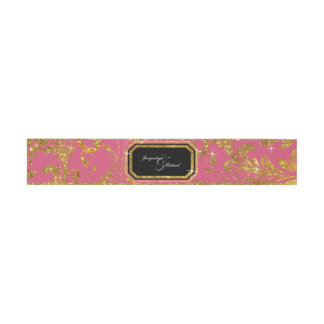 Faux Gold Glitter Elegant Scroll Classy Wedding Invitation Belly Band