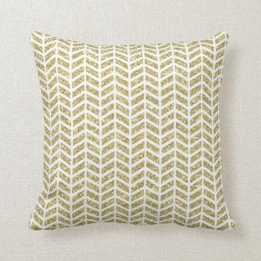 Faux gold glitter foil chevron arrow pattern zig throw pillow Zazzle