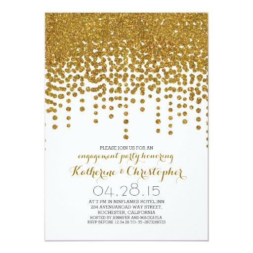 faux gold glitter foil confetti engagement party custom invitation