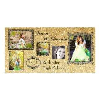 Faux Gold Glitter - Grad Announcement Photo Card