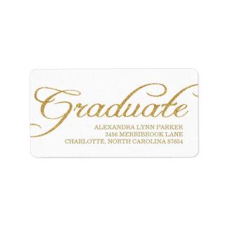 Faux Gold Glitter Graduation Address Label