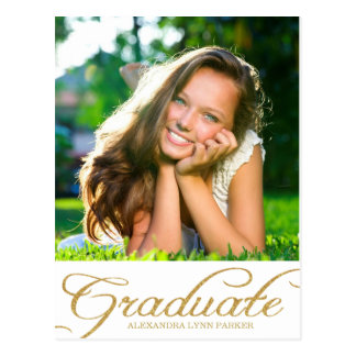 Faux Gold Glitter Graduation Party Invite Postcard