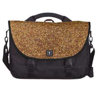 Faux Gold glitter graphic Laptop Messenger Bag