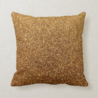 Gold Sparkle Throw Pillow : Faux Gold glitter graphic Pillow