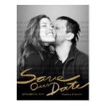 Faux Gold Glitter Handwrite Save Our Date Postcard