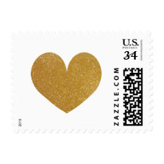Faux Gold Glitter Heart Print Image 34 Cent Stamps at Zazzle