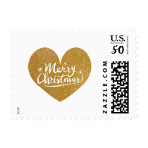 Faux gold glitter heart script Merry Christmas Postage