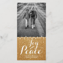 Faux Gold Glitter | Joy Peace Christmas Photo Card