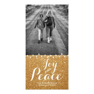 Faux Gold Glitter   Joy Peace Christmas Photo Card