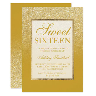Faux gold glitter lemon curry chic Sweet 16 Card