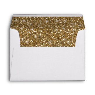 Faux Gold Glitter Lined Envelope