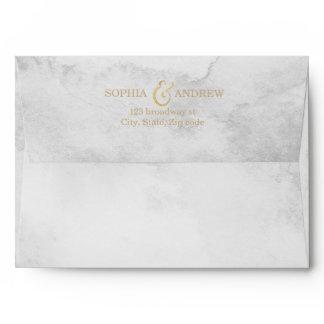 Faux gold glitter liner & return address grey envelope