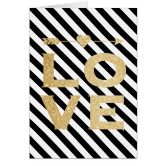 Faux Gold Glitter Love Valentine's Day Card