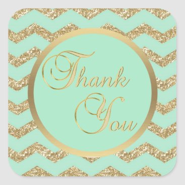 Professional Business Faux Gold Glitter Mint Thank You Envelope Seals