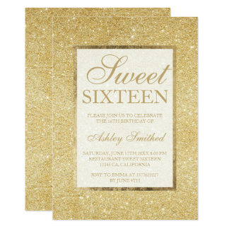 Faux gold glitter modern elegant chic Sweet 16 Card