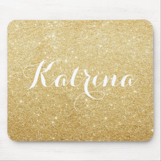 Faux Gold Glitter Modern Personalized Mouse Pad